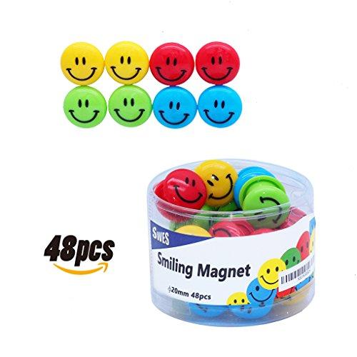 [해외]SWES 자석 핀 스마일 무늬지도 화이트 보드 냉장고 사색/SWES Magnet pin · Smile pattern map · White board · Four colors for refrigerator