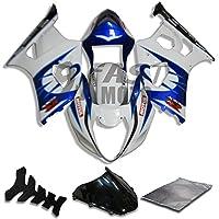 9FastMoto suzuki スズキ 2003 2004 K3 GSXR1000 GSXR 1000 03 04 GSX R1000 K3 用フェアリング オートバイフェアリングキット ABS 射出成形セット スポーツバイク カウル パネル (ブルー & ホワイト) S0943