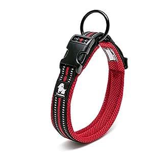 cocomall 犬首輪 犬の首輪 犬用訓練首輪 小型、中型、大型犬用首輪 ペット用品  3M反射材料  ナイロン製  通気性  弾力性 ソフト 調節可能   ハーネス リード (L, レッド)