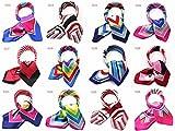 カラフル艶やかなシルク調スカーフ シルクロードの起点【西安】からの贈り物 美品激安 60角企業制服スカーフ (sj02)