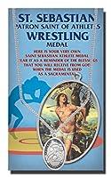 Wrestling Saint SebastianピューターMedal on 24連続チェーン、両面メダル