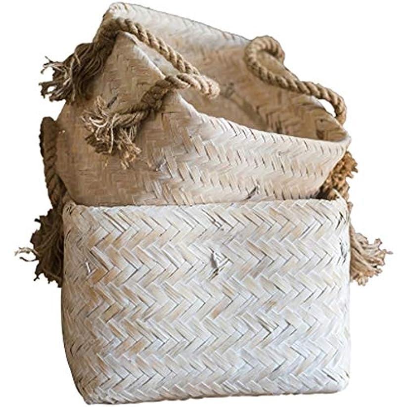 適応的肝コーヒーQYSZYG ヴィンテージ白い竹のストレージバスケットのバスケットの装飾手作りの芸術の破片の並べ替え、サイズオプション 収納バスケット (サイズ さいず : 29*24.5cm)