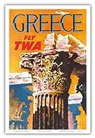 ギリシャ - TWA (トランス・ワールド航空)で飛ぶ - コリント式スタイルギリシャコラム - ビンテージな航空会社のポスター によって作成された デイヴィッド・クライン c.1959 - アートポスター - 31cm x 46cm