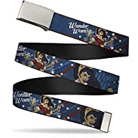 Buckle-Down Web Belt - WONDER WOMAN/Bombshell Pose Blue/Red/White