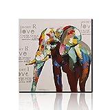 Asmork モダンアート油画 絵画 油絵 現代 抽象画 (象) インテリア キャンバス 壁掛け 手描き油彩 アートフレーム・ポスタ30*30cm(サイド)