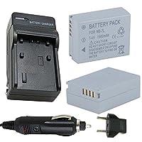 バッテリー( 2- Pack )と充電器、Canon NB - 7l nb7l 7.4V Li - Ion 1500mAh充電式バッテリーパック