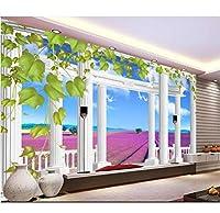 Wuyyii 3D壁紙カスタム壁画不織布壁ステッカー3 Dローマ時代の列ラベンダー背景絵画3D写真壁画壁画壁紙