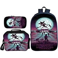 Stranger Things Backpack with Lunch Box & Pencil case, Student Bookbag School Bag Travel Rucksack Daypack for Kids Boys Girls Teens, Game Fans Gifts