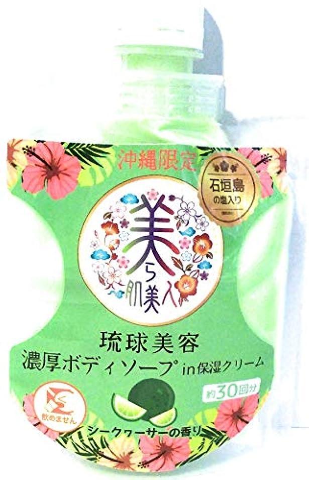 正しくこする横たわる沖縄限定 美ら肌美人 琉球美容濃厚ボディソープin保湿クリーム シークヮーサーの香り