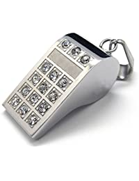 [テメゴ ジュエリー]TEMEGO Jewelry ステンレス鋼のペンダントファッションホイッスルネックレス、シルバーポリッシュメンズクリスタル[インポート]