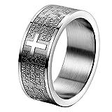 JewelryWe メンズ レディース ステンレス リング 指輪 バンド シルバー ブラック 聖書 主 祈り クロス 十字架 ビンテージ 研磨 アメリカサイズ 10号 (ギフトバッグを提供)