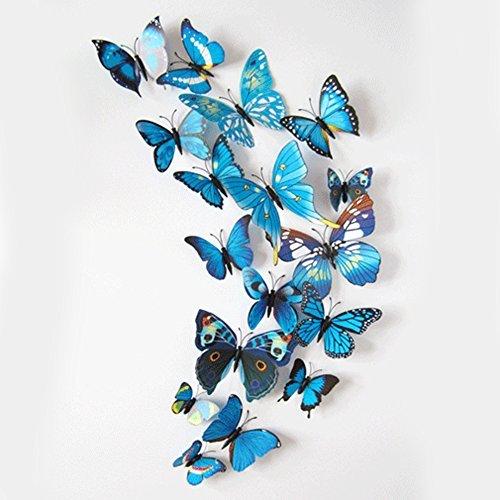 sunsoar 磁石 蝶 壁紙 立体 3D ウォールステッカー 青い