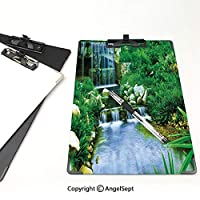 個性的 キングジム:クリップボード カラー A4判タテ型 自然 アイデア多機能メニュー フォレストバレーイメージシダ緑水色の岩紅葉カスケードを流れる滝
