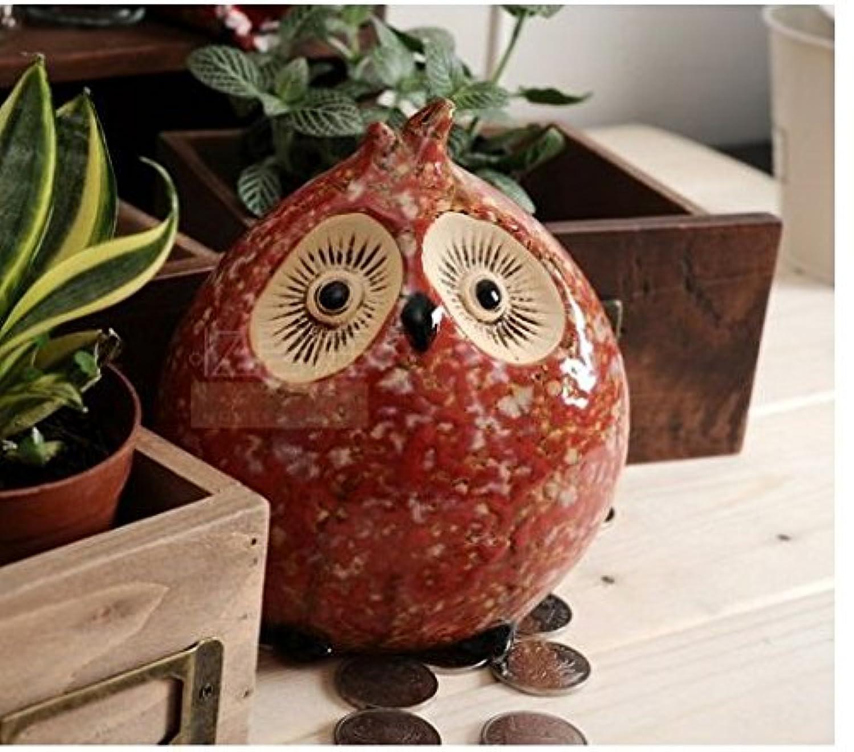 マネー バンク 居心地の良い家族のフクロウの陶器の貯金箱の家の装飾(フクロウのB)