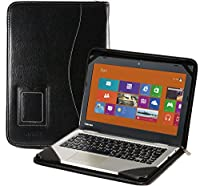 Navitech 本革レザー製ノートパソコンフォリオカバーケース黒Toshiba Cloudbook CL10-B-100 11.6-inch Cloudbook