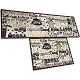 "EUCH Non-Slip Rubber Backing Carpet Kitchen Mat Doormat Runner Bathroom Rug 2 Piece Sets,15""x47""+15""x23"" (Coffee Bean)"