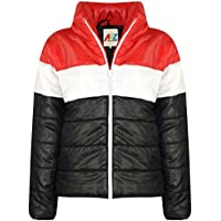 Kids Girls Boys Jacket Designer's Contrast Panel Padded Quilted Warm Coat 5-13Yr