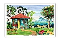 海の家 - ハワイ - ハワイ諸島 - トロピカルパラダイス - オリジナルの水彩画からのもの によって作成された ロビン アルトマン - アートポスター - 31cm x 46cm