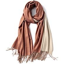 Young17 Women Elegant Shawl Tassel Dual-use Imitated Cashmere Scarves Autumn and Winter Color Block Scarf for Friends Couple Festivals Birthday Gifts