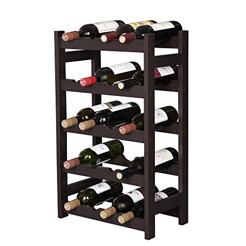 SONGMICS 木製 ワインボトル20本収納 ボトル・ディスプレイ・ラック 自立するボトル用収納棚 ぐら付きなし ...