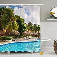 シャワーカーテン、防水ポリエステルファブリックバスカーテン防カビ抗菌性沿岸印刷パターン浴室カーテン、180 X180cm,C