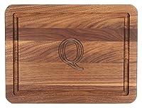 Bigwoodボード厚バー/チーズボード、9-inch by 12-inch by 3/ 4インチ、モノグラム、ウォールナット S ブラウン