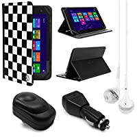VanGoddy Mary 2.0 Standing Portfolio Case for Sony Xperia Z4 10.1 inch Tablet with USB Wall & Home Chargers & White Headphones, Checker [並行輸入品]