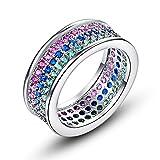 メイデイ 人気ブランド ピンク、ぐりーん、ブルー 平打ち シンプル 恋人 婚約指輪 キラキラ レディース ジルコン 小粒 ギフト包装