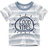 1-8T Baby Boys Short Sleeve Summer Striped T Shirt Tops Cotton Tees
