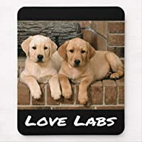 愛黄色いラブラドル・レトリーバー犬の小犬のマウスパッド敷き おしゃれ かわいい 滑り止め 動物 可愛い マット パット オシャレ(20x25cm)