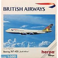 """ヘルパ 1/500 ブリティッシュ・エアウェイズ B747-400 """"南アフリカ"""" G-BNLO"""