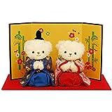 幸せよぶ、くまのお雛様 小さなお子様も親しみやすいひな人形? 初節句 女の子ひなまつり 雛人形 平飾り 親王飾り ミニひな プティルウ製