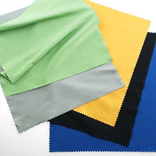 マイクロファイバークリーニングクロス - ガラス、メガネ、カメラ、iPad、iPhone、タブレット、携帯電話、LCDスクリーン、銀製品、その他デリケートな表面向けのエクストララージサイズのカラフルなクロス 5枚、ECO-FUSED製5 (12 x 12 インチ / 30 x 30 cm 黒、グレー、緑、青、黄色) (8 x 8 インチ / 20 x 20 cm, 黒、グレー、緑、青、黄色)