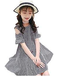 14a41a49278cd Yijz子供服 ワンピース ガールズ オフショルダー チェック柄 肩開き 綿 キッズ 女の子 ドレス