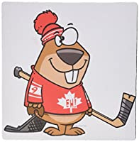 3dRose LLC 8 x 8 x 0.25 Inches Mouse Pad, Silly Canadian Hockey Beaver (mp_104324_1) [並行輸入品]