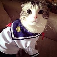 スカートペットをドレスアップファッション夏コットンの猫衣装服猫ドレスペットキティ衣装セーラー制服はD080用品:ピクチャー、Sとして、