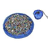 収納袋 持ち運び 超大キッズマット 直径150cm 防水ドローストリング付きのお片付けプレイマット(ブルー)