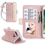 iPhone7ケース iphone7ケース 手帳型,WWW®[RFIDブロッキング] [透かし彫りの花 デザイン] 良質PUレザーケース 横開き 手帳型 カード入れ ストラップ付き 化粧鏡 スタンド機能 マグネット開閉 ローズゴールド