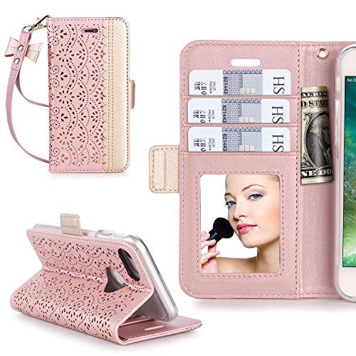 iPhone7ケース iphone7ケース 手帳型,WWW?[RFIDブロッキング] [透かし彫りの花 デザイン] 良質PUレザーケース 横開き 手帳型 カード入れ ストラップ付き 化粧鏡 スタンド機能 マグネット開閉 ローズゴールド