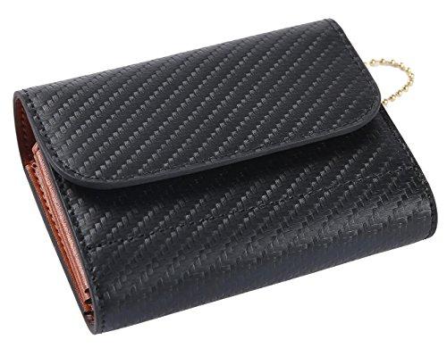 4db5183625e4 [レガーレ] 財布 二つ折り財布 メンズ レディース ボタン 小さい財布 コンパクト財布 三つ折り財布 本革 カーボンレザー (カーボンブラック)