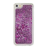yougheny iPhone 5/5s/SE用保護カバー PC ケース 多彩な流砂ケース キラキラ 動く流れ 人気 携帯スマホケース 流動の砂 かっこいい流動感 衝撃吸収 グリッター おしゃれ パープル