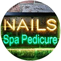 Nails Spa Pedicure Beauty Salon Dual LED看板 ネオンプレート サイン 標識 Green & Yellow 300 x 210 mm st6s32-i0357-gy