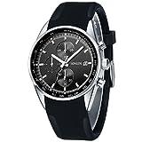 SONGDU メンズ 腕時計 クロノグラフ 多針アナログ ブラック シリコンバンド ビジネス クォーツ ウォッチ [並行輸入品]