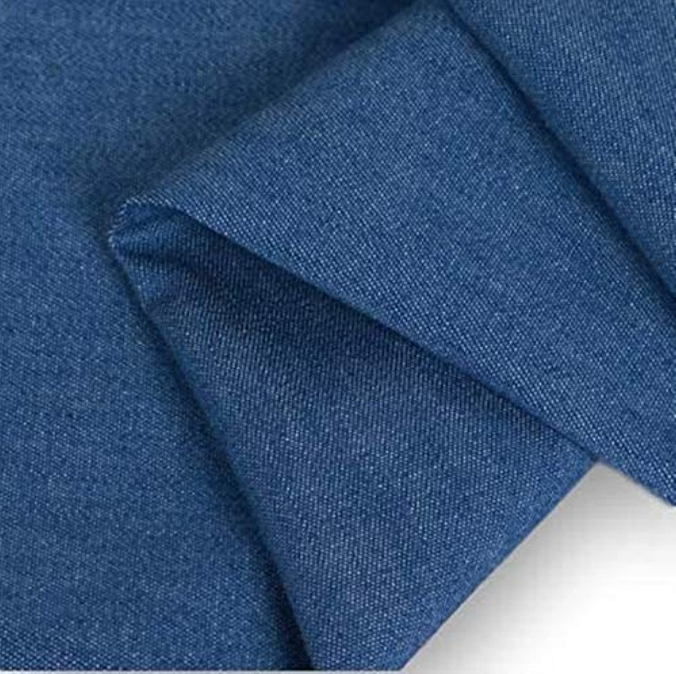ほのか暗い発明するmoonfarm デニム 生地 薄手 ジーンズ 手芸用 布 手作り 約1m 幅約145cm(青)