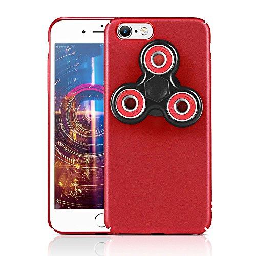 HAOCOOハンドスピナー iPhone 6 ケース Hand spinner iPhone Case 衝撃吸収バンパー 擦り傷防止 ストレス解消 アイフォン 6用のハンドスピナーコンボケース (iPhone 6  4.7インチ, レッド)