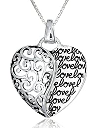 Swasti Jewels Old Antique Silver Plated Heart Shape Pendant Necklace for Women with Graffitti Letter Love