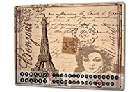 カレンダー Perpetual Calendar Retro Art Metropole Eiffel Tower Paris Tin Metal Magnetic