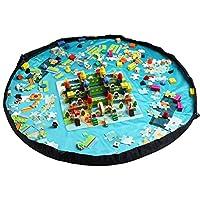 (ホームキューブ)Homecube 直径150cm 超大防水キッズマット お片付けマジックシート ドローストリングバッグ おもちゃ収納 レジャーシート 園児遊び 水色
