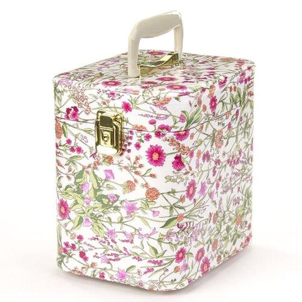 無視ニコチン死すべき日本製 メイクボックス トレンケース ハーブガーデン 7寸 ピンク  (鍵付き/コスメボックス)