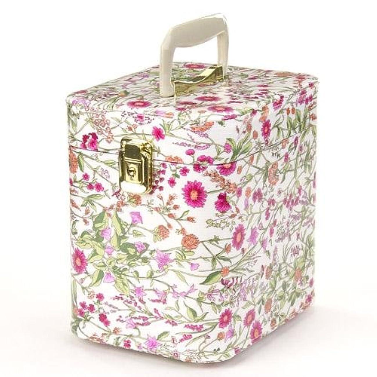 階下整然とした葉を拾う日本製 メイクボックス トレンケース ハーブガーデン 7寸 ピンク  (鍵付き/コスメボックス)
